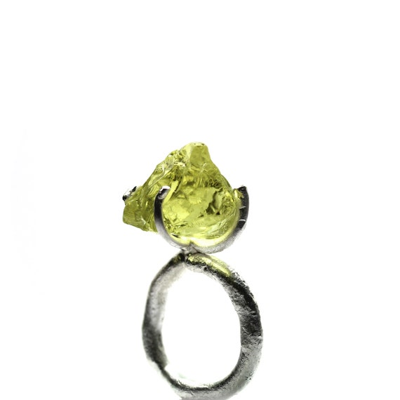 RESERVED FOR Arlene - Raw Neon Lemon Citrine Silver Ring - Neon Crush