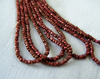 antique French metal cut bead hank Copper red  Rare color