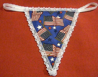 Womens USA AMERICAN FLAG G-String Thong Lingerie Panty Underwear