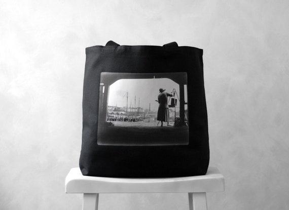 Boston Harbor Artist - Vintage Photograph - Black or Natural Canvas Bag - Carryall Tote - School Bag