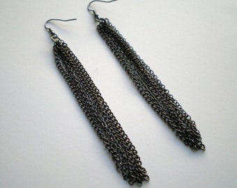 Gunmetal Tassel Chain Earrings