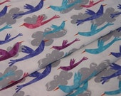 Fly Away Birds and  Clouds from Amy Schimler in Sunset 100% Cotton Fabric from Robert Kaufman - 1 Yard - FabricFascination