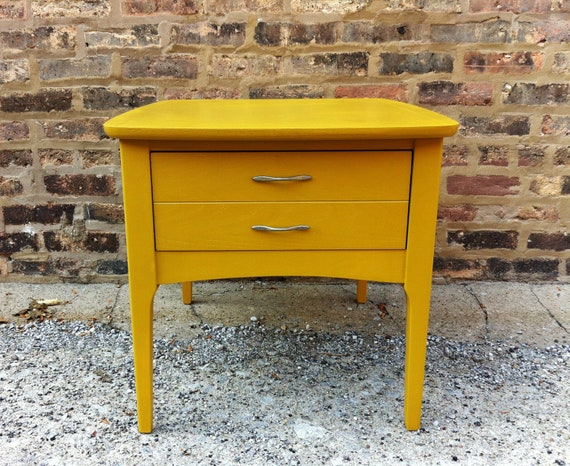 Mid Century Side Table In Mustard Yellow