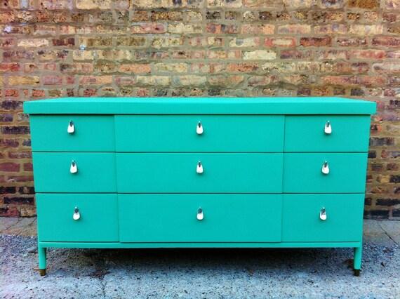 Vintage Mid Century Dresser In Spearmint