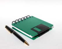 Floppy Disk Notebook - Geek Book - Recycled Computer Diskette - Green