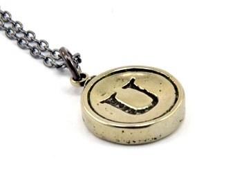 Letter U Charm Necklace - White Bronze Initial Typewriter Key Charm Necklace - Gwen Delicious Jewelry Design GDJ