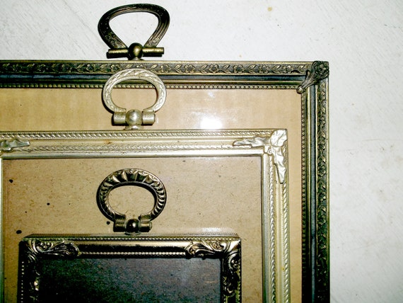 3 Vintage Goldtone Ring Picture Frames . . . 9 X 7 . 7 X 5 . 4 X 3 inches . . . Velvet Easel Backs  . . . Beautiful worn Patina