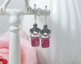 Vintage Style Charm Earrings Pink Moonstone