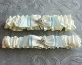 Wedding Garter SET in Ivory and Blue - the Fiona Bridal Garter (Also Available in White or Off-white) - Wedding Day Something Blue