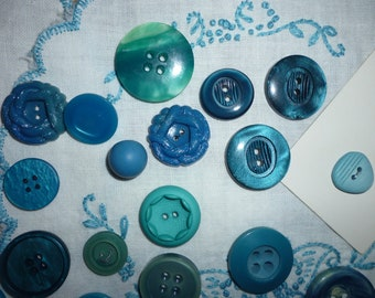 Turquoise Aqua Colored Collection Of Vintage Buttons
