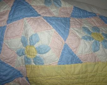Antique Hand Stitched Quilt ~ Flowered Quilt ~ Pastel Colored Bedding ~ Handmade ~ Unique Bedding ~ Cottage Decor