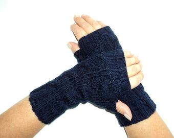 Handknitted Mittens, Wool Mittens, Deep Blue Mittens, Mittens, Christmas Gift