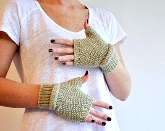 Khaki Belted Mittens, Handmade Mittens, Christmas gifts, Knitt Mittens, women mittens