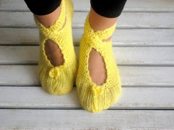 Christmas Gifts, YellowSlippers, Wool Slippers, Crochet Slippers, Slippers, Women Slippers