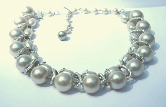 Vintage signed Japan,1950's Chunky Double Pearl and Winding Silver Choker Necklace