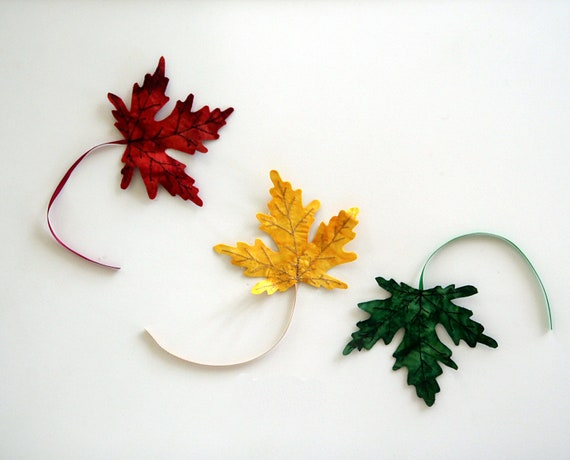Three Fall Fabric Maple Leaves Bookmarks Decor