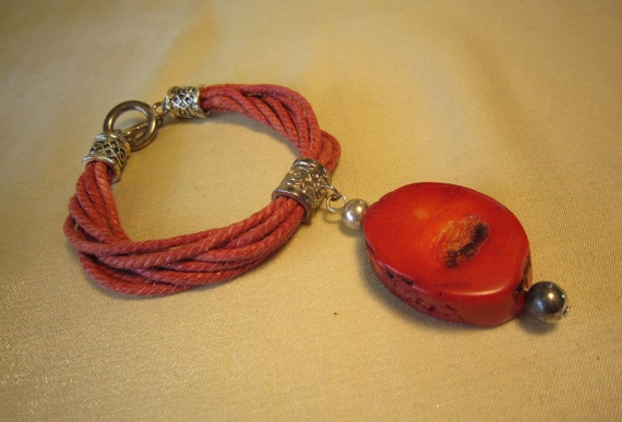 SALE Boho Coral and Silver Bracelet Was 8.50 Now 5.50
