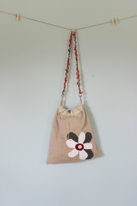 Large Messenger, Bag, Purse Carry All Upcycled Sweater Adjustable Chain Strap Flower Applique Women's Purse