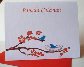 Handmade Personalized Linen Love Birds in Nest Stationery- Set of 10 notecards w/ envelopes. Gift ready.