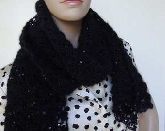 Women's Scarves - Black Scarf,  Mohair, Sequined, Hand Crocheted