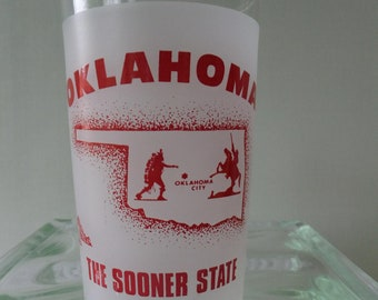 Vintage Glass Oklahoma State Souvenir Tumbler The Sooner State Frosted White Red Travel Vacation Retro