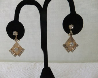 Vintage Earrings Screw Back Gold Tone Diamond Shape with Rhinestones Retro Costume Jewelry