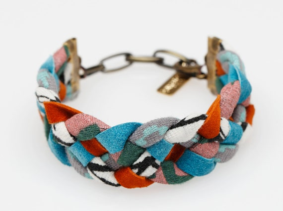 Braided Fabric Bracelet in Green, Blue and Ochre