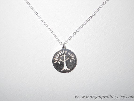 Family Tree Circle Charm Necklace in Silver - Cute Sterling Silver Tree Pendant - Sterling Silver Fine Chain - morganprather