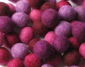 60 Hand-felted Wool Felt Balls 2 CM Very Berry Mix Handbehg Felts Fiber Crafts