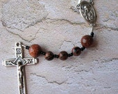 Blue and Brown Goldstone Catholic Rosary