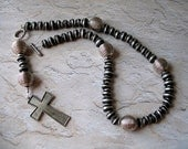 Rosary Necklace of Ebony and Silver African (Ethiopian) Beads - Needs a home, more than 50% off