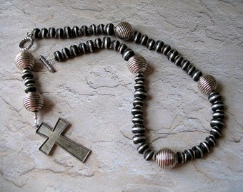 Rosary Necklace of Ebony and Silver African (Ethiopian) Beads