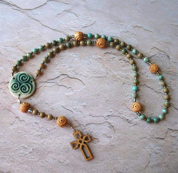 Celtic Rosary in Aqua Terra Jasper and Olive Wood
