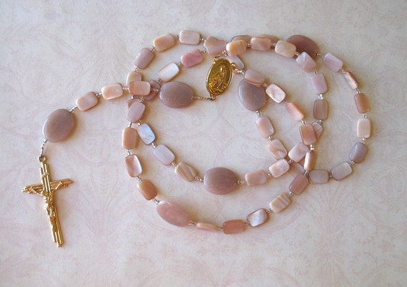 Mother of Pearl Rosary with Peach Moonstone and a Scapular Center