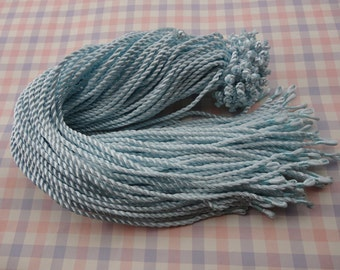 10pcs 18-20 inch 3mm light blue twist silk necklace cord with loop and knot