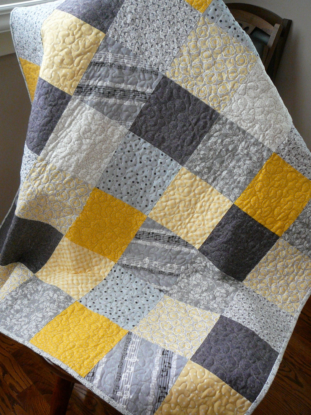 Gray White Quilt : Patchwork quilt modern squares in yellow gray and black