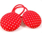 Ponytail Holders Red and White Polka Dots Tween Hair Accessories Pony Tail Holders Set of 2 Cute Hair Accessories for Girls Small Gift Ideas