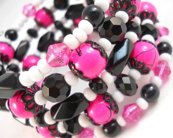 Bracelet Set, Pink and Black, Teen Jewelry, Tween Jewelry, Cute Bracelets, Beaded Bracelet, Fun Jewelry, Gifts for Teen Girls, Memory Wire