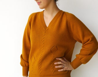 Vintage Pumpkin Sweater / Braided Thick Sweater / Size M L
