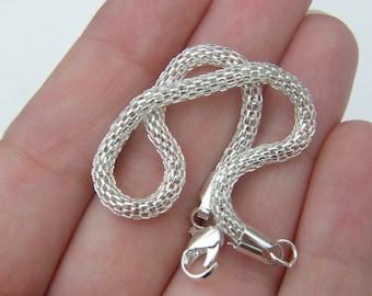 2 Charm bracelet bracelets 20 x 3cm bright silver tone