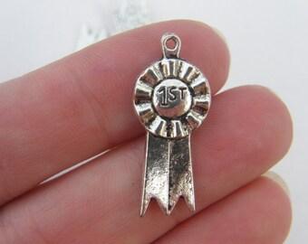 6 1st prize ribbon pendants antique silver tone SP71