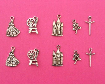 The Sleeping Beauty Collection - 10 antique silver tone charms