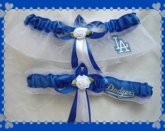 White Organza Ribbon Wedding Garter Set Made With Dodgers Fabric WB