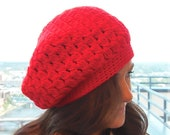 True Red Slouch Hat Baggy Beanie Loose Beret Tam ( unisex ) (or choose any color)