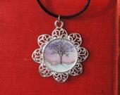 Pendant - Original - Watercolor - Art - Handmade - Silvertone - Lone Tree - Winter - Twilight