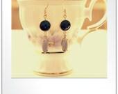 Matt Gold Plate Framed Black Onyx Stone Connector, Vintage Glass Faceted Navette Stones Earrings
