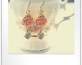 Pink Resin Flower, Vintage Glass Square Stone Earrings