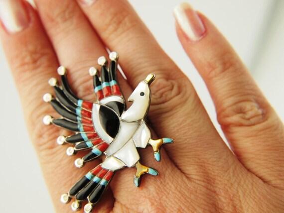 Bird Ring - Inlaid Stone - Sterling - Vintage