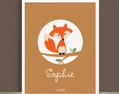 Custom Baby Print - Forest Friends - Fox - 8.5 x 11 inches