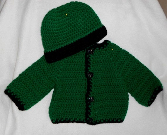 Boys Dark Green Sweater and Beanie Set, Size 9 mos Plus